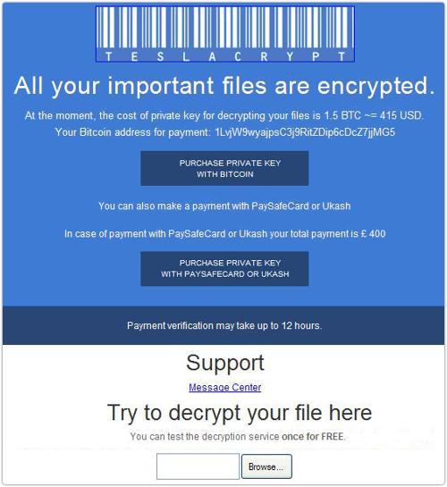 TeslaCrypt virus